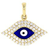 Solid 14k Yellow Gold Blue Evil Eye with Pave Cubic Zirconia Charm Pendant