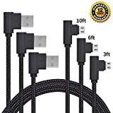 Micro USB Cable, CTREEY 90 Degree 3 Pack 3FT 6FT 10FT Long Premium Nylon Braided Android Fast Charger USB to Micro USB Charging Cable for Samsung Galaxy S7 Edge/S6/S5, Note 5/4/3 (Black)
