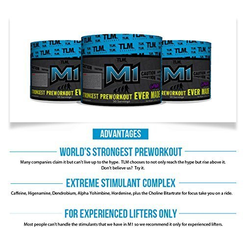 TLM Research M1 World's Strongest Pre-workout with 400mg of Caffeine, Hordenine, Higenamine, and Rauwolfia for an Extreme Workout Experience (Orange)