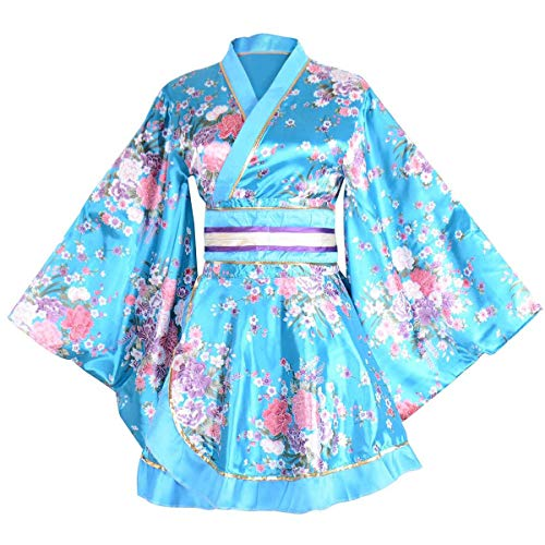 Kimono Bathrobe Costume Japanese Traditional Yukata Cosplay Women's Sexy Sakura Pattern (Blue) ()