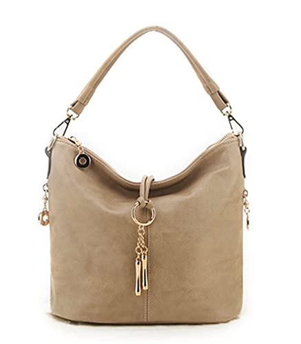 8d08b85706 Amazon.com  Hoxis Chic Tassel Faux Leather Hobo Slouch Zipper Bucket Womens  Shoulder Handbag (Khaki)  Shoes