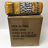 Allstar Steel Wool #0000 Super Fine Grade (12 Packs of 16 Pads)