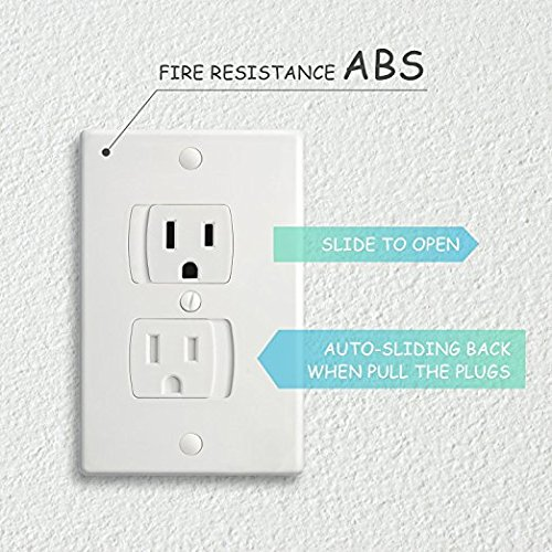 Electric Outlet Cover Baby Outlet Covers, Flame Retardant Abs, Bpa-Free, Best House Protection Hardware Included,Universal Self-Closing Electrical Outlet Cover, Etc. by Today I Celebrate (Image #3)