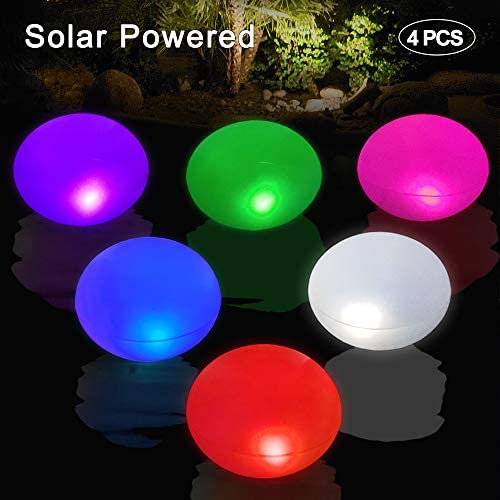 Cootway Pool Solar Lights 4PCS, 15 UFO Inflatable Floating Waterproof Lights for Garden Lawn Pond Beach etc, Indoor Outdoor Auto Color Changing Lights