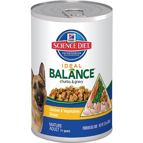 Hill's Science Diet Ideal Balance Mature Adult Chicken and Vegetables Dinner Dog Food Can, 12.8-Ounce, 12-pack