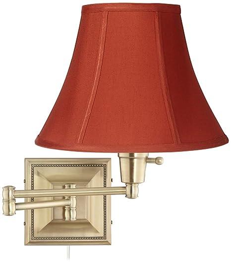 Brass Red Geneva Cinnabar Shade Plug In Swing Arm Wall Lamp