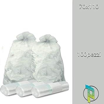 Palucart® Lot de 100 sacs poubelle transparents de 70 x 110 cm (110 l)