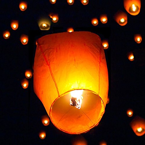 AYNEFY Sky Lantern Kit, 50Pcs Biodegradable Paper Wire-Free Flying Lantern Chinese Kongming Lanterns Wish Lights Kit White for Birthdays Weddings Christmas Memorials