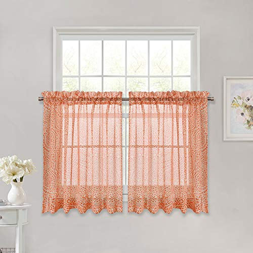 Two Tier Arabesque - RYB HOME Semi Sheer with Paisley Pattern Voile Valance Luxurious Elegant Linen Look Sheer Tier Panels Short Window Covering for Bathroom/Living Room/Kitchen, Coral Orange, Wide 52