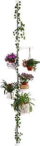 Hershii 5-Layer Indoor Plant Pole Spring Tension Rod Corner Flower Display Rack Adjustable Plant Pot Stand Holder Telescopic Floor to Ceiling Shelf Space Saving - Ivory