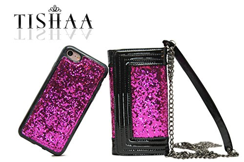 iPhone 7 case,TISHAA Fashionable Crossbody Bag Glitter PU Leather Folding Cover Wallet with inside Mirror,Card Slots,Chain Strap for Apple iPhone 7 (2016) (Crossbody Spark Hot Pink) ()