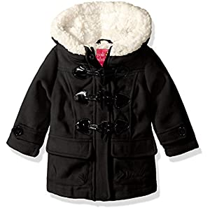 Pink Platinum Baby Girls Wool Toggle and Zip Front Coat, Black, 24M