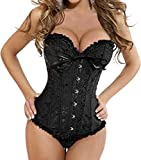 Boned Lace up Back Sexy Corset for Women Lingerie Top Floral Bustier with G-string