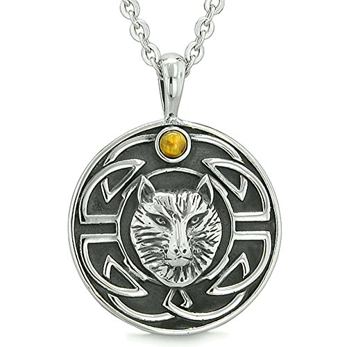Gemstone Medallion Style Pendant - Amulet Courage Wisdom Wolf Ancient Viking Celtic Knot Tiger Eye Protection Power Pendant 18 Inch Necklace