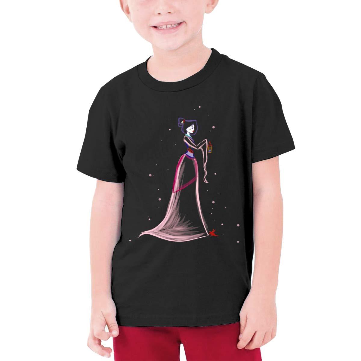 ANDREW RUBIE Mushu Catoon Boys Short-Sleeved Black Shirt