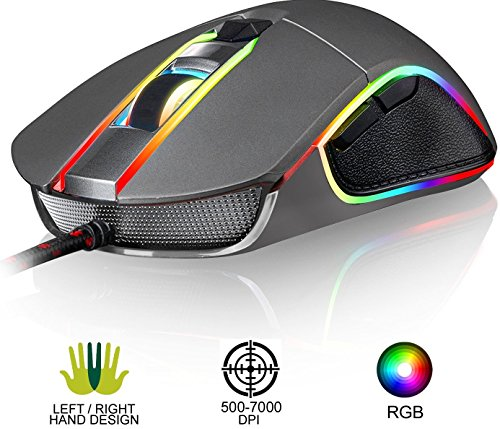KLIM AIM Chroma RGB Gaming Mouse – NEW – PRECISE – Wired USB – Adjustable 500 to 7000 DPI – Programmable Buttons – Comfortable for all hand sizes – Ambidextrous Excellent grip for Gamer