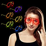 Fun Central G709 6ct Glow Stick Eye Glasses, Glow Sticks for Kids, LED Stick, Light Up Sticks, Light Up Glasses, LED Light Up Glasses, Glow Glasses, Glow Sticks Bulk - Assorted Colors