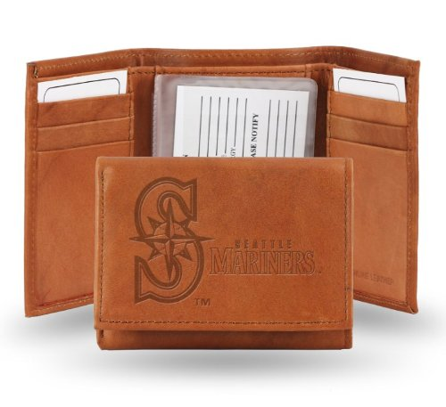 MLB Seattle Mariners Embossed Genuine Cowhide Leather Trifold (Seattle Checkbook Cover)