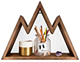 Mkono Wall Shelf Mountain Wood Hanging Shelves Rustic Display Organizer Storage Home Decor