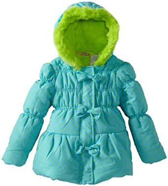 Young Hearts Little Girls'  1 Piece Bow Green Hood Jacket, Blue, 3T