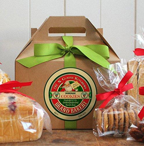 Vintage Santa Workshop Mrs Claus Catering Handmade by Elves Sweet Food Cookie and Candy Label Stickers (Santa Cookies)