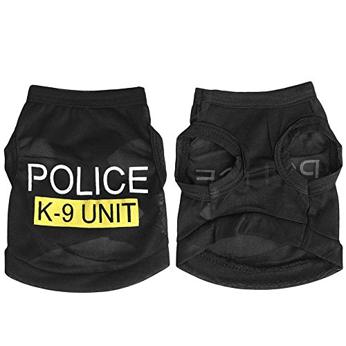 Shuohu Pet Dog Black Police K-9 Unit Vest T-Shirt Puppy Cat Apparel Costume - Black S (Costumes For Puppies)