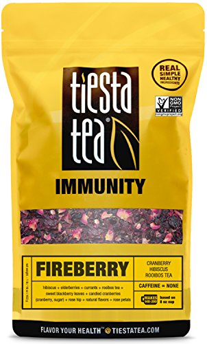 Tiesta Tea Fireberry, Cranberry Hibiscus Rooibos Tea, 200 Servings, 1 Pound Bag, Caffeine Free, Loose Leaf Herbal Tea Immunity Blend, Non-GMO