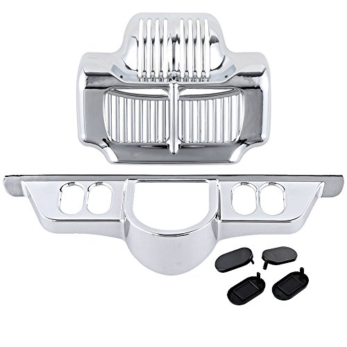 - Set Chrome Cover Oil Cooler + Switch Dash Panel Accent Compatible with 2011-2013 Harley Electra Street Tri Glide