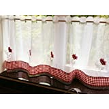 STUNNING POPPY FLORAL RED WHITE RESTAURANT KITCHEN CAFE CURTAIN PANEL 60 X 24 by PCJ SUPPLIES