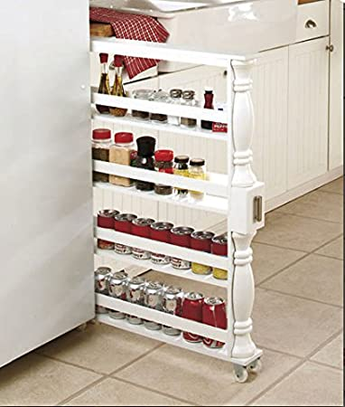 WHITE Spice Rack Organizer The Container Store Side Of Under The Counter  Antique Wood Slice Simply