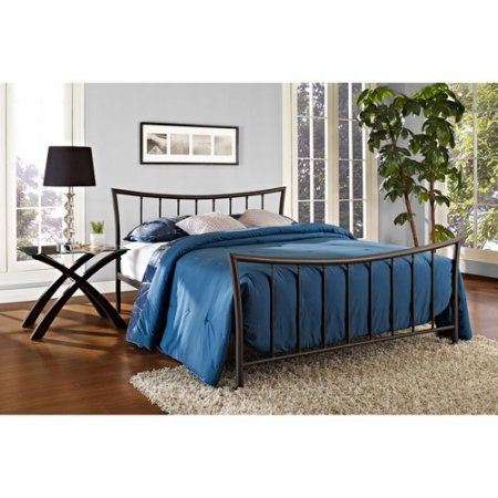 Queen Size Modern Metal Bed Frame, Bronze Finish, Bedroom Furniture, Metal Slats, Curved Headboard, Footboard, Bedding, Made from Metal, Bundle with Our Expert Guide with Tips for Home (Metal Modern Footboard)