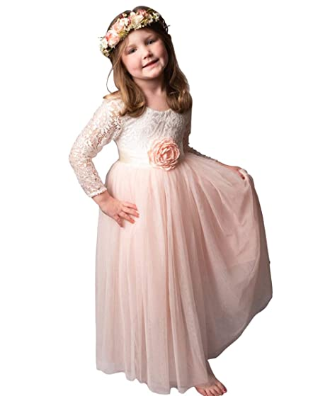 Amazon.com  Flower Girl Dress Lace Back Long Sleeves Kids A-Line Gowns   Clothing 73b35a91c