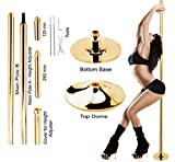 New Pro Portable Stripper Fitness Exercise Stripper Weight Loss Club Spin Spinning Professional Dance Dancing Strip Spinning Pole 45mm Gold up to 10Ft Height