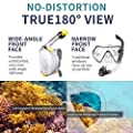 Joyhill Full Face Snorkel Mask, Panoramic 180° View Dive Mask, Dry Top Snorkel with Handler Detachable Camera Mount, Anti-Fog Leak Proof Free Breath Design