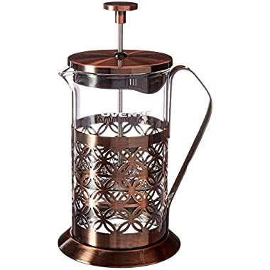 Ovente 34oz Stainless Steel French Press Coffee Maker, Great for Brewing Coffee and Tea, 8 cup,Antique Copper (FSF34C)