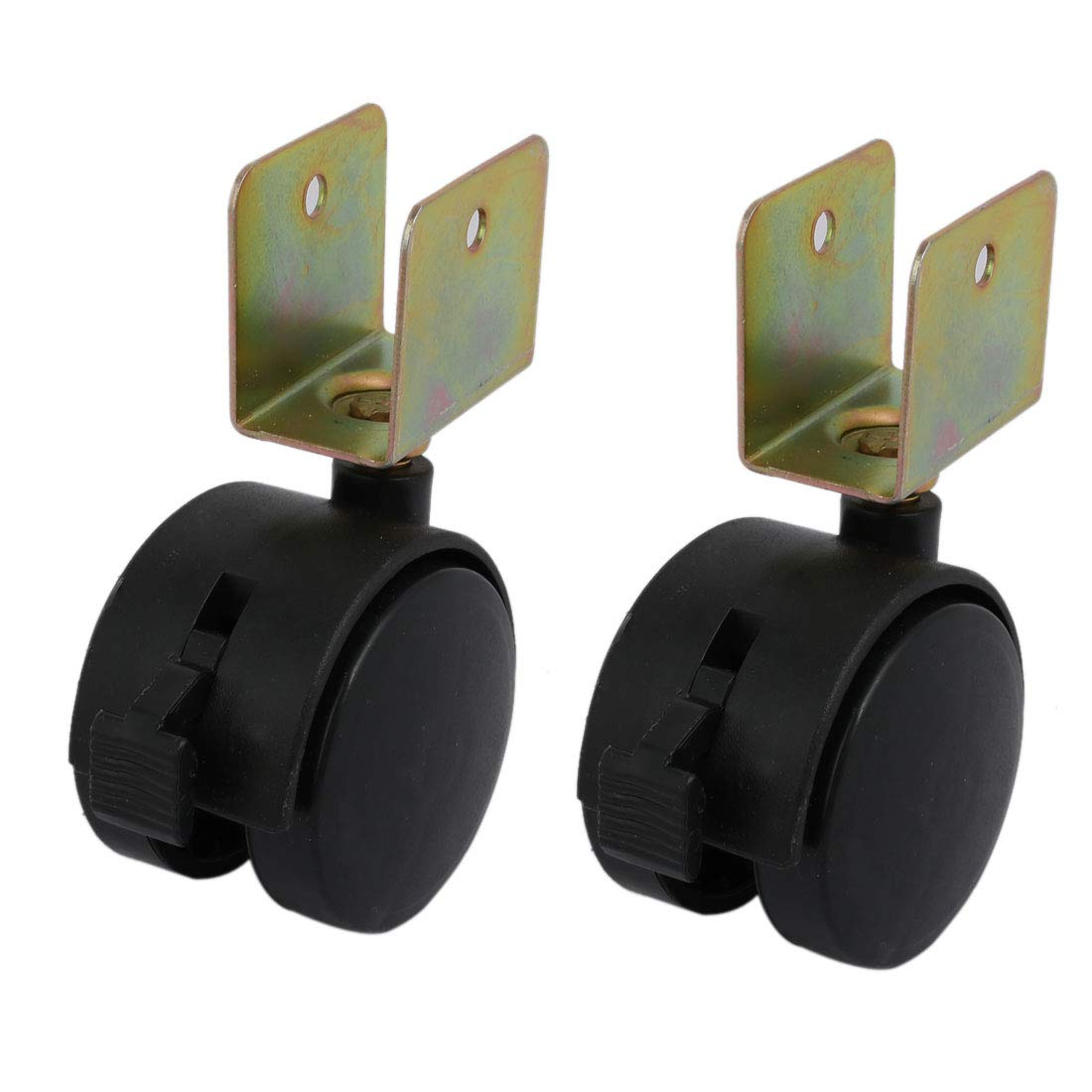 uxcell 2pcs 1.8 inch Dia Wheel 20mm U Bracket Swivel Brake Caster Black