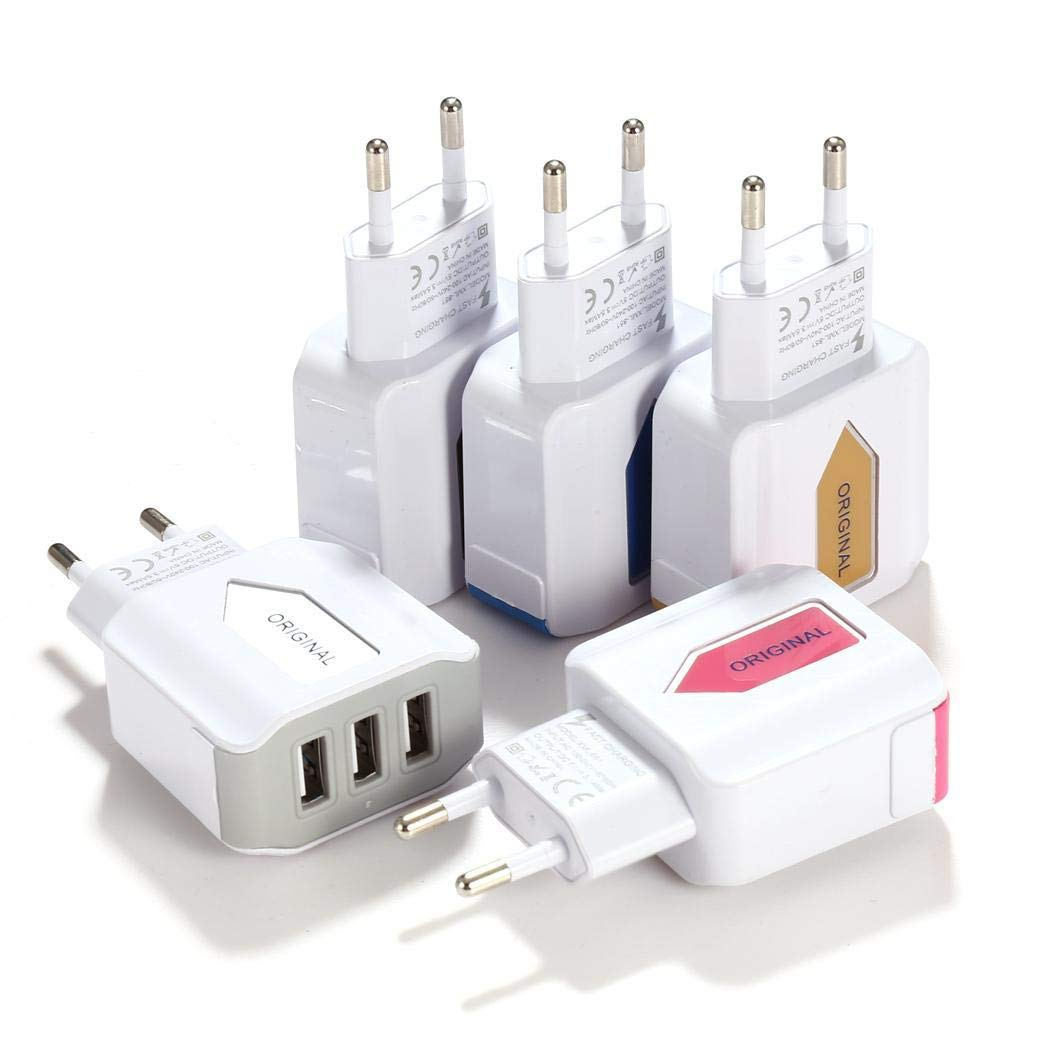 Tiowea Triple USB Port Wall Home Travel AC Power Charger Adapter Wall Chargers Europe Plugin by Tiowea (Image #2)