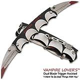 "10"" DUAL BLADE GRIP HANDLE Bat Style Vampire Folding Double Pocket Knife & Belt Clip!"