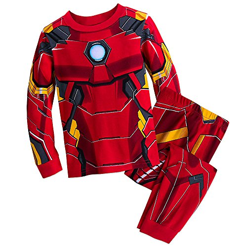 Marvel Iron Man Costume PJ Pals Pajamas Set for Boys, Red, 10]()