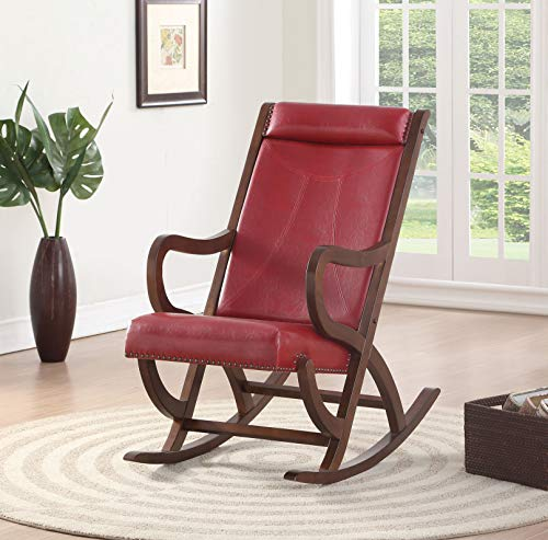 Benjara BM193887 Wooden Rocking Chair with Looped Arms, Brown and Red
