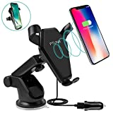 Wireless Car Charger, PTUNA Qi Wireless Charging 2-in-1 Air Vent Car Mount Charger for iPhone X 8 8 plus Samsung Galaxy S8 S8Plus Note 8 S6 S7Edge LG G2 & Qi Enabled Devices