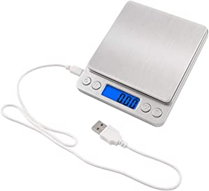 NEXT-SHINE Rechargeable Digital Kitchen Scale Gram Food Mini Pocket Size Scale 500g x 0.01g with Stainless Steel USB Charged for Cooking Baking Jewelry Postal Parcel