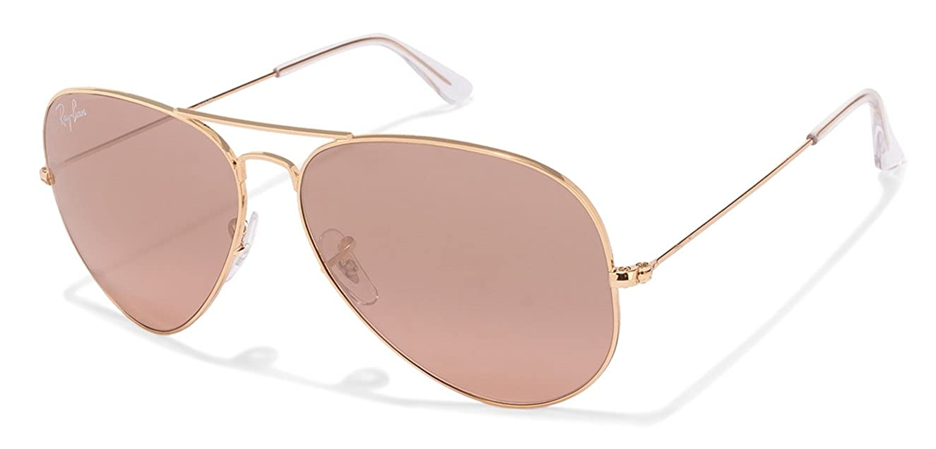 4d5a4cf553749 Amazon.com  Ray-Ban RB3025 Aviator Large Metal Mirrored Unisex Sunglasses  (Gold Frame Crystal Brown Pink Silver Mirror Lens 001 3E