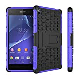 Sony Z3 Case,Sony Z3 Case Cover,XYX [Kickstand] Purple Armor Case [2 in 1 Rugged Hybrid] Hard/Soft Drop Impact Resistant Protective Case with Kickstand for Sony Xperia Z3 - Purple