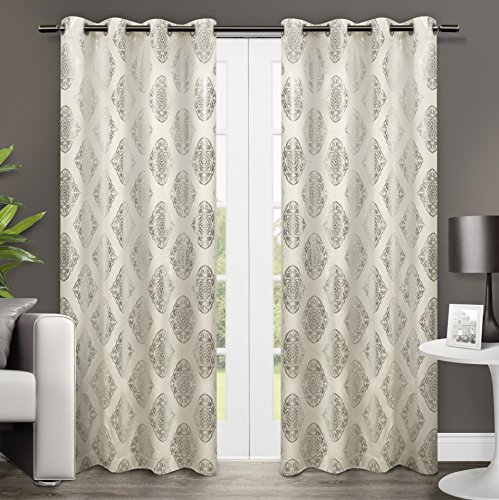 """Exclusive Home Augustus Metallic Medallion Grommet Top Window Curtain Panels 54"""" X 84"""", Off-White, Sold as Set of 2 / Pair"""