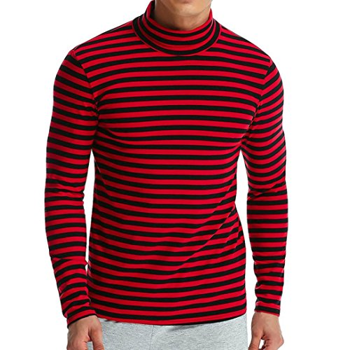 GREFER Men's Autumn Winter T-Shirt Striped Turtleneck Long Sleeve Hight Neck Tops (M, Red) ()