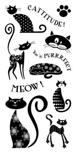 Inkadinkado Clear Cat Stamp Set for Scrapbooking and Card Decorating, 11pc