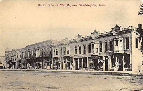 Washington Iowa South Side Square Store Fronts Antique Postcard K16616