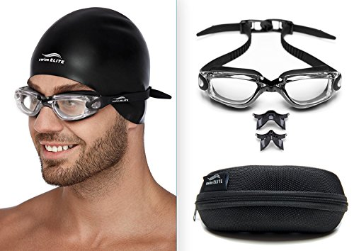Swim Goggles + Reversible Swimming Cap + Protective Case • Exclusive Set (Clear lenses)
