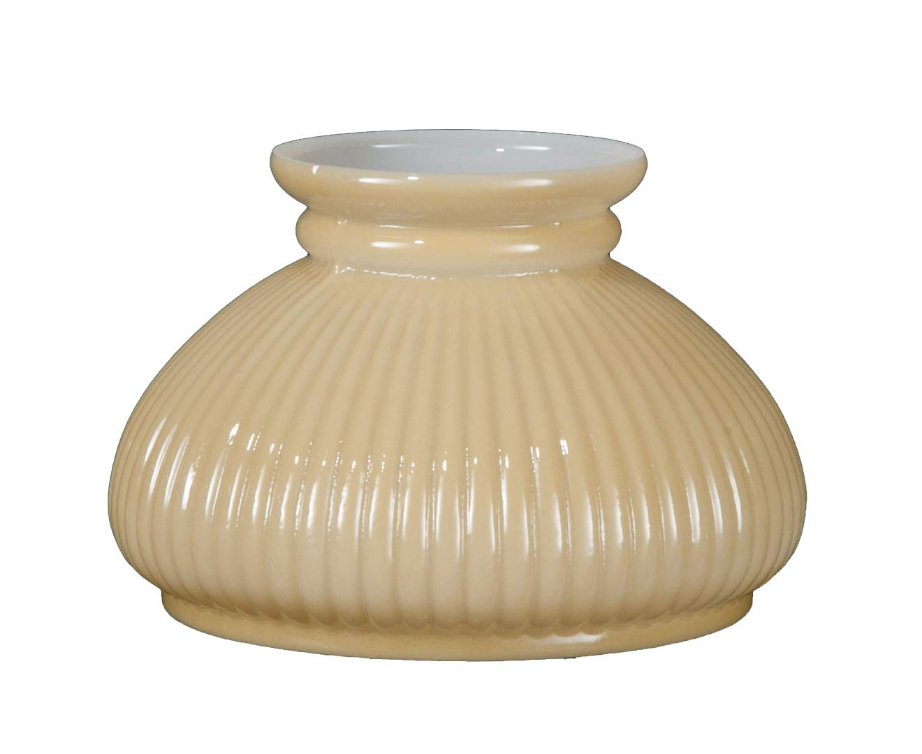 B&P Lamp 7'' Opal Glass Rib Shade, Buff Nu-Gold